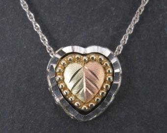 Vintage Black Hills Gold Sterling Heart Pendant Set