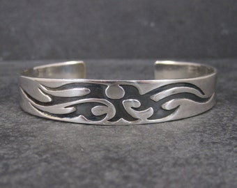 Vintage Tribal Cuff Bracelet Sterling 7 Inches