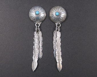 Long Vintage Sterling Navajo Feather Turquoise Earrings