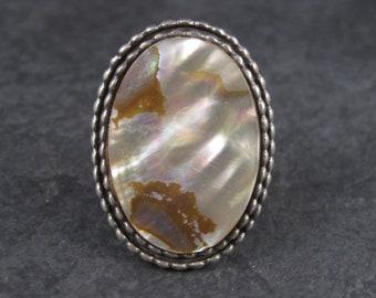 Large Vintage Sterling Abalone Ring Size 7