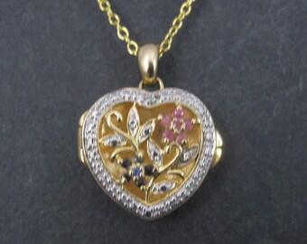 Vintage 90s Sterling Vermeil Ruby Sapphire Flower Locket Necklace