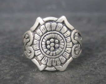 Vintage Sterling Celtic Flower Heart Ring Size 11