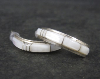 Vintage Zuni Sterling Inlaid Mother of Pearl Half Hoop Earrings Chester Sheraldine Lonjose