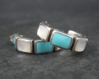 Sterling Mother of Pearl Turquoise Inlay Hoop Earrings