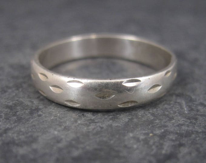 Vintage Sterling Diamond Cut Band Ring Size 12