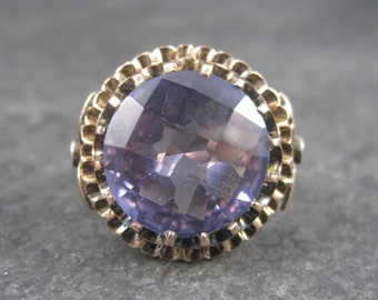 Huge Vintage 10K Color Change Alexandrite Diamond Ring Size 7