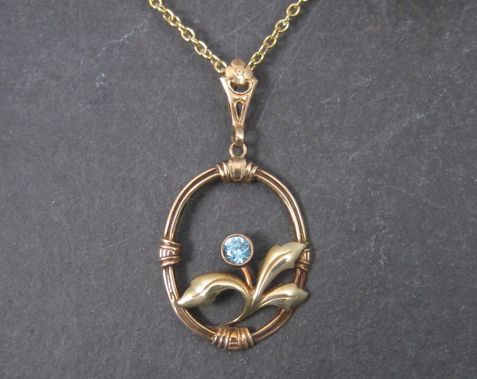 Antique 10K Blue Zircon Flower Pendant Necklace