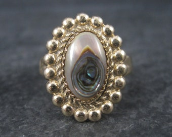 1970s Southwestern Abalone Ring 12K Gold Filled Size 7