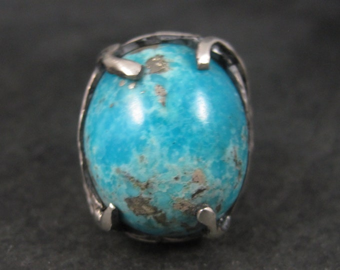 Large Vintage Sterling Turquoise Ring Size 10