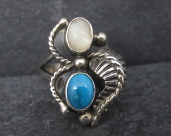 Vintage Southwestern Sterling Mother of Pearl Turquoise Ring Size 5 Pauline Dolly Foutz