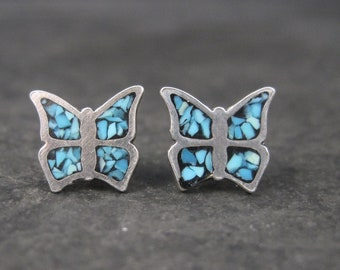 Vintage Sterling Turquoise Chip Inlay Butterfly Earrings