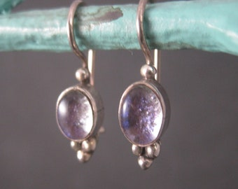 Vintage Sterling Foiled Purple Earrings Latch Back