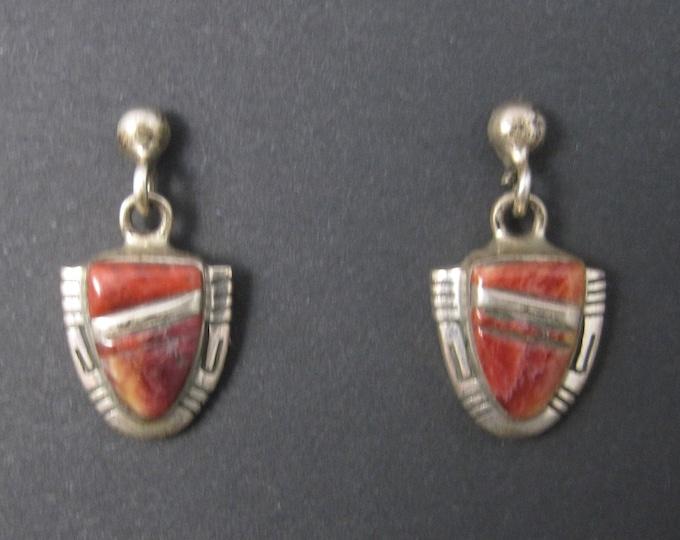 Vintage Southwestern Sterling Spiny Oyster Earrings