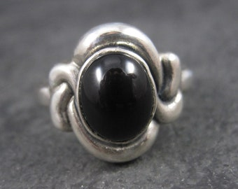 Vintage Sterling Onyx Knot Ring Size 8.75