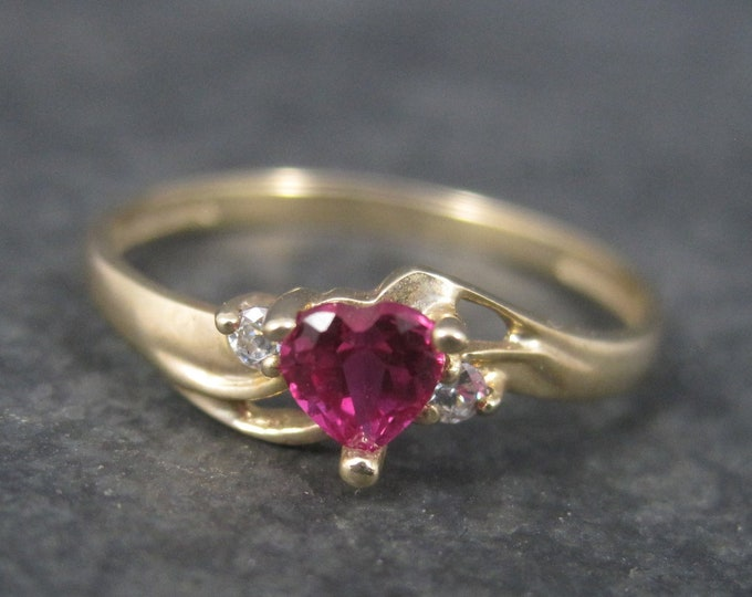 Dainty Vintage 90s 10K Ruby Heart Ring Size 7