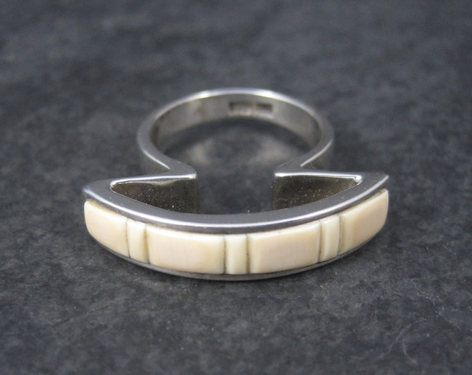 Unique Southwestern Sterling Angel Skin Coral Inlay Ring Size 6