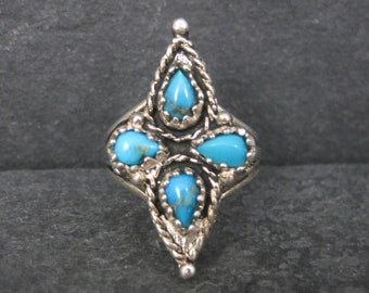 Vintage Southwestern Sterling Turquoise Ring Size 7.75