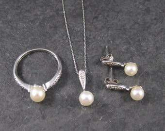Vintage 10K White Gold Pearl Ring Pendant Earrings Jewelry Set Size 7