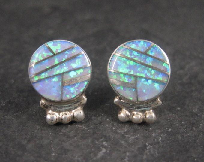 Vintage Southwestern Sterling Opal Inlay Earrings