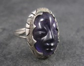Vintage Mexican Carved Amethyst Face Ring Size 8