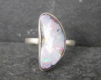 Dainty Vintage sterling Freeform Opal Ring Size 7