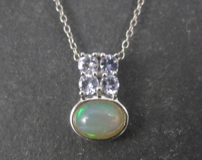 Vintage Sterling Opal Tanzanite Pendant Necklace