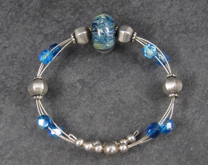 Blue Art Glass Wrap Bracelet 6-7 Inches