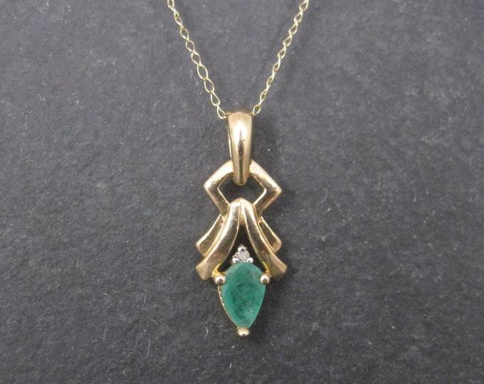 Small vintage 10K Emerald Diamond Pendant Necklace