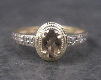 Dainty Vintage 10K Smoky Topaz Ring Size 7