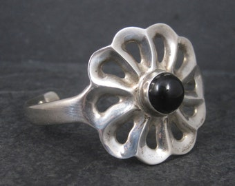 Vintage Mexican Sterling Onyx Flower Cuff Bracelet 6.25 Inches