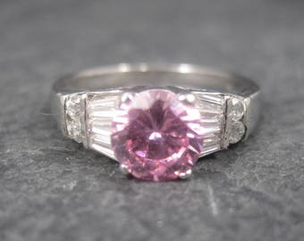 Sterling Silver Pink Sapphire White Zircon Ring Size 8