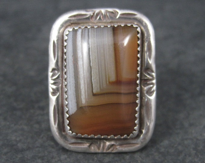 Vintage Native American Sterling Banded Agate Ring Size 9.5