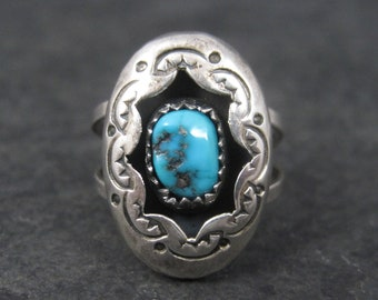 Dainty Vintage Navajo Turquoise Shadowbox Ring Size 7
