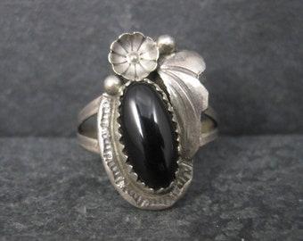 Vintage Southwestern Sterling Onyx Ring Size 7