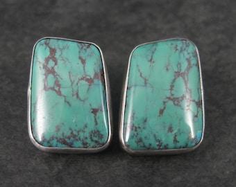 Large Vintage Southwestern Sterling Turquoise Earrings