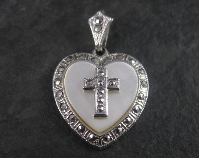 Vintage Sterling Mother of Pearl Marcasite Heart Cross Pendant