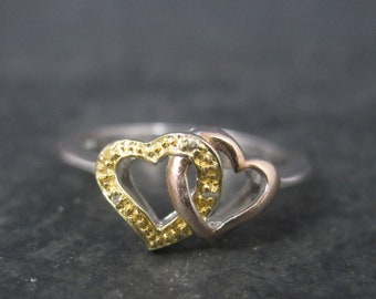 Vintage Sterling Rose Gold Double Heart Ring Size 7