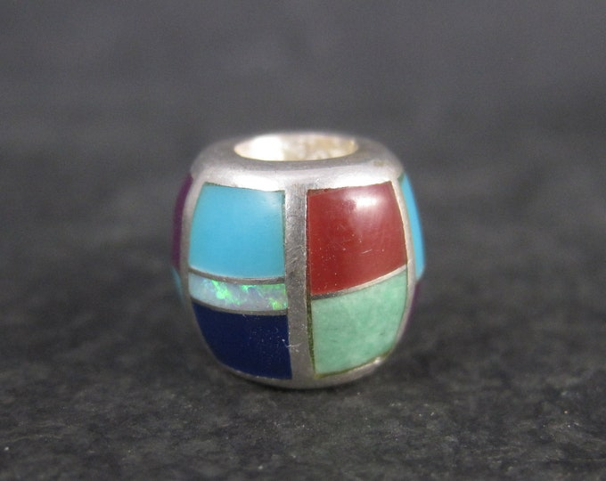 Vintage Southwestern Sterling Inlay Bead Pendant