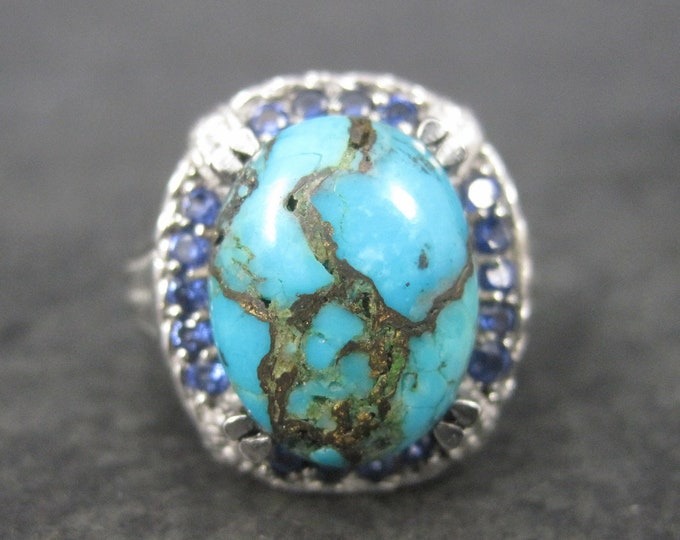 Mens Stainless Steel Turquoise Sapphire Ring Size 8