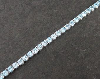 Vintage 90s Sterling December Birthstone Bracelet 7 Inches Something Blue Wedding Jewelry