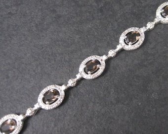 Vintage 90s Sterling Smoky Topaz Bracelet 7.5 Inches