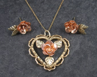 Vintage Black Hills Gold Rose Heart Pendant Earrings Jewelry Set