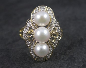 Vintage 14k Two Tone Pearl Diamond Ring Size 7