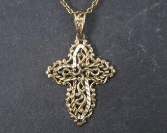 Vintage 10K Diamond Cut Filigree Cross Pendant