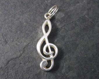 Vintage Cellini Sterling Treble Clef Music Note Charm Pendant