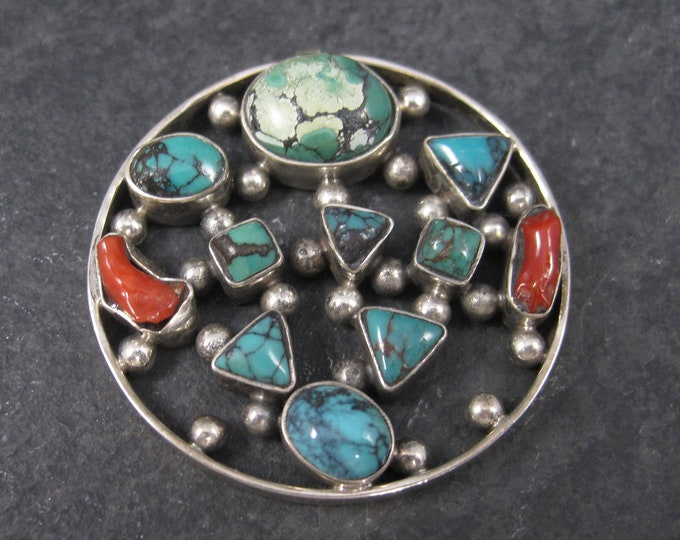 Large Vintage Sterling Turquoise Coral Pendant Focal
