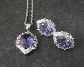 Vintage Created Color Change Alexandrite Pendant and Earrings Jewelry Set