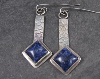 Large Sterling Sodalite Earrings