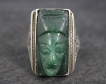 Vintage Mexican Sterling Greenstone Mask Ring Size 8
