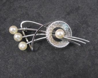 Vintage Sterling Pearl Brooch Curtis Jewelry